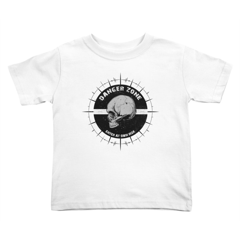 Danger Zone (white) Kids Toddler T-Shirt by Oblivion Design's Artist Shop