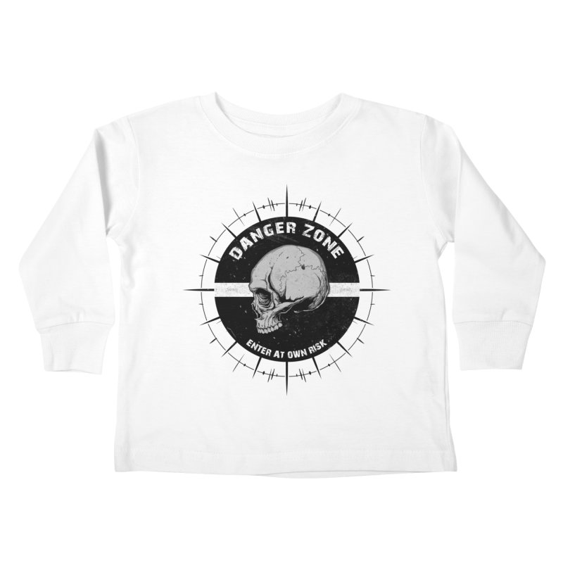 Danger Zone (white) Kids Toddler Longsleeve T-Shirt by Oblivion Design's Artist Shop