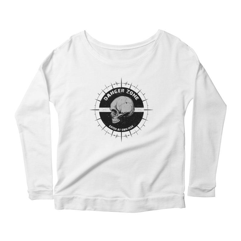 Danger Zone (white) Women's Scoop Neck Longsleeve T-Shirt by Oblivion Design's Artist Shop