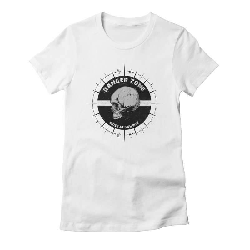 Danger Zone (white) Women's Fitted T-Shirt by Oblivion Design's Artist Shop