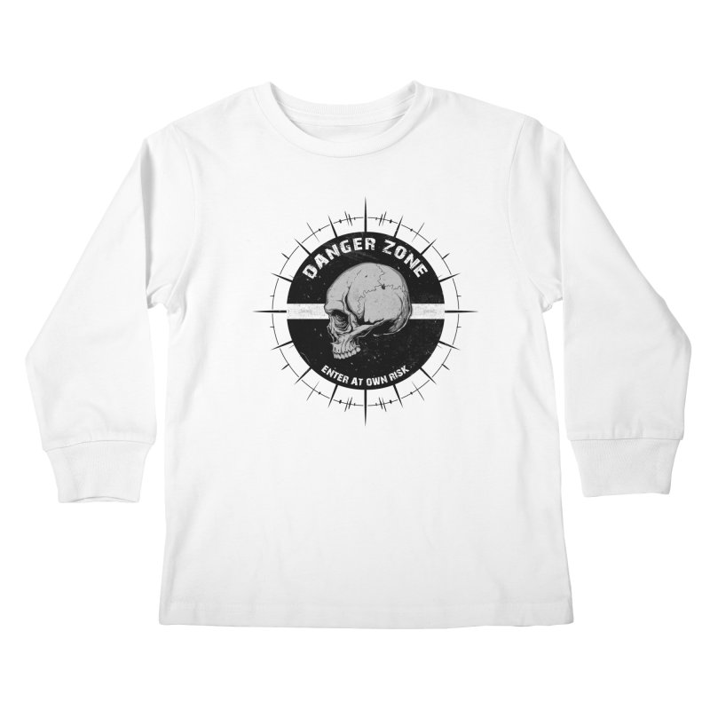 Danger Zone (white) Kids Longsleeve T-Shirt by Oblivion Design's Artist Shop