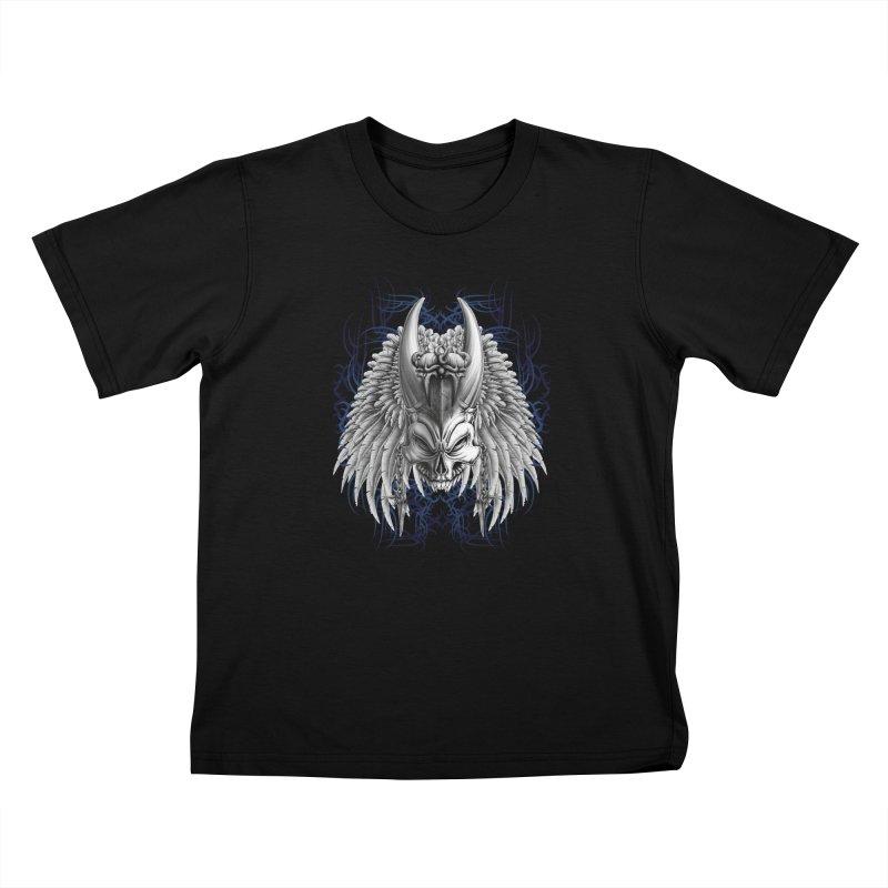 Tribal Indian Skull Kids T-Shirt by Oblivion Design's Artist Shop
