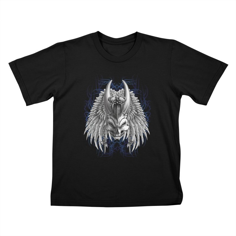 Tribal Indian Skull Kids T-Shirt by Oblivion Design's Artist Shop