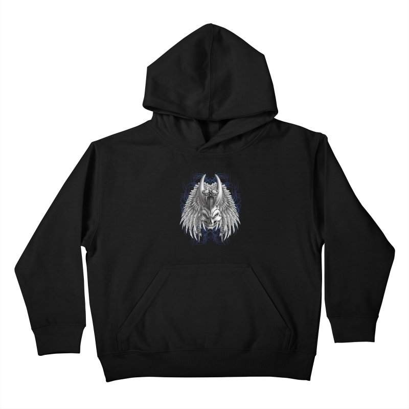 Tribal Indian Skull Kids Pullover Hoody by Oblivion Design's Artist Shop