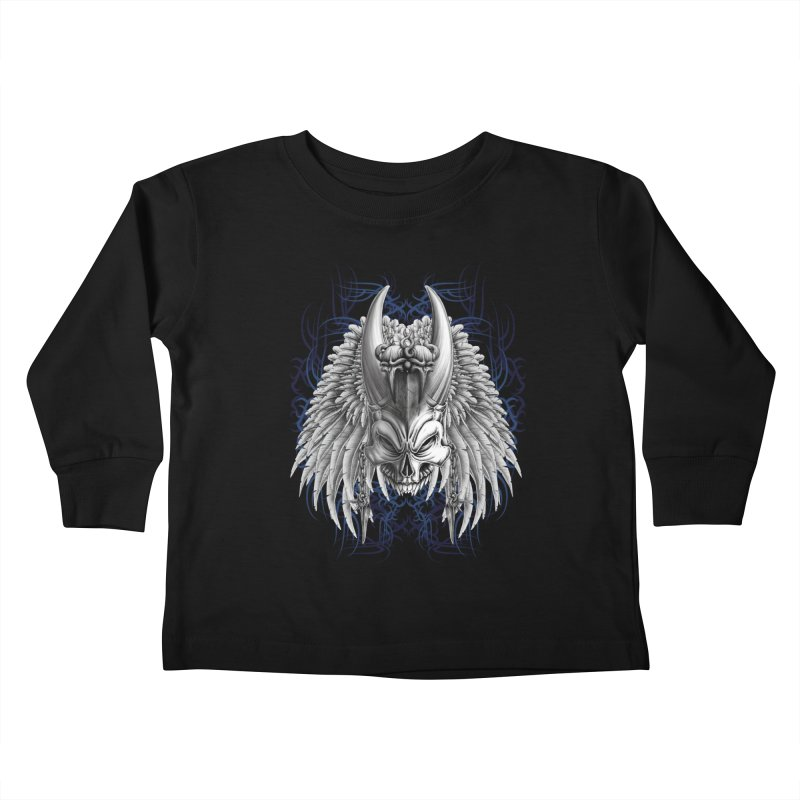 Tribal Indian Skull Kids Toddler Longsleeve T-Shirt by Oblivion Design's Artist Shop