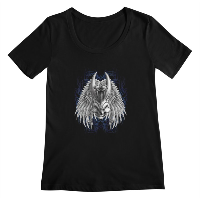 Tribal Indian Skull Women's Scoopneck by Oblivion Design's Artist Shop