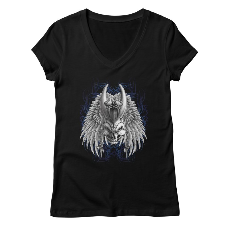 Tribal Indian Skull Women's V-Neck by Oblivion Design's Artist Shop