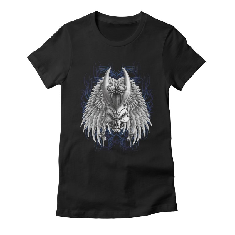 Tribal Indian Skull Women's Fitted T-Shirt by Oblivion Design's Artist Shop