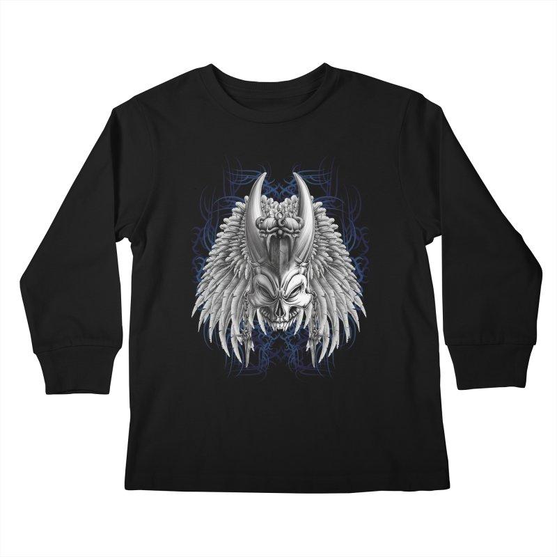 Tribal Indian Skull Kids Longsleeve T-Shirt by Oblivion Design's Artist Shop