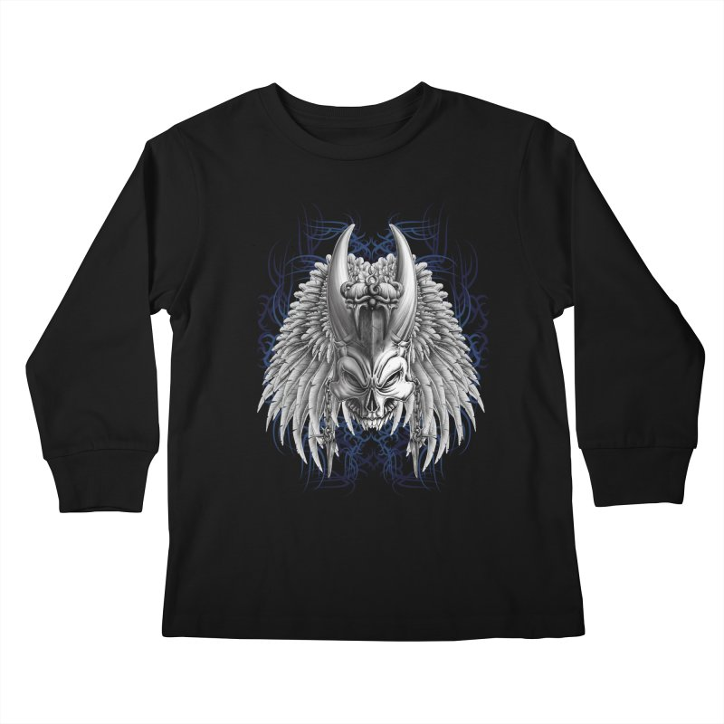 Tribal Indian Skull Kids Longsleeve T-Shirt by Oblivion Design's Artist Shop