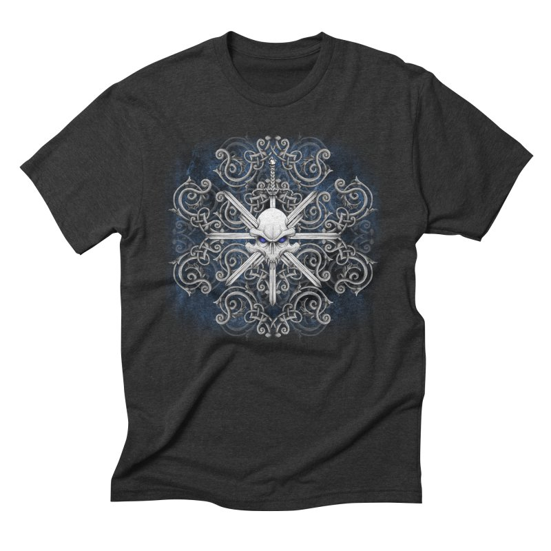 Tribal Skull Swords Men's Triblend T-Shirt by Oblivion Design's Artist Shop