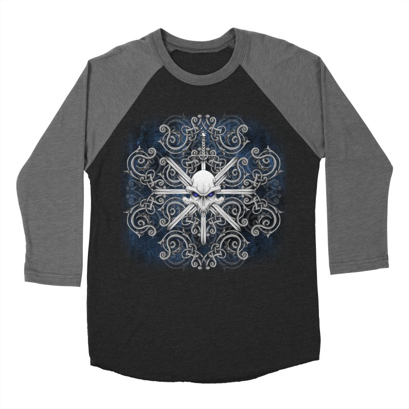 Tribal Skull Swords Men's Baseball Triblend Longsleeve T-Shirt by Oblivion Design's Artist Shop