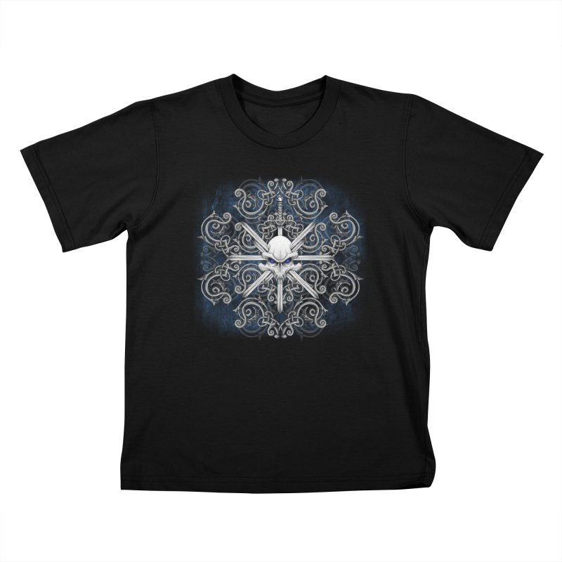 Tribal Skull Swords Kids T-Shirt by Oblivion Design's Artist Shop