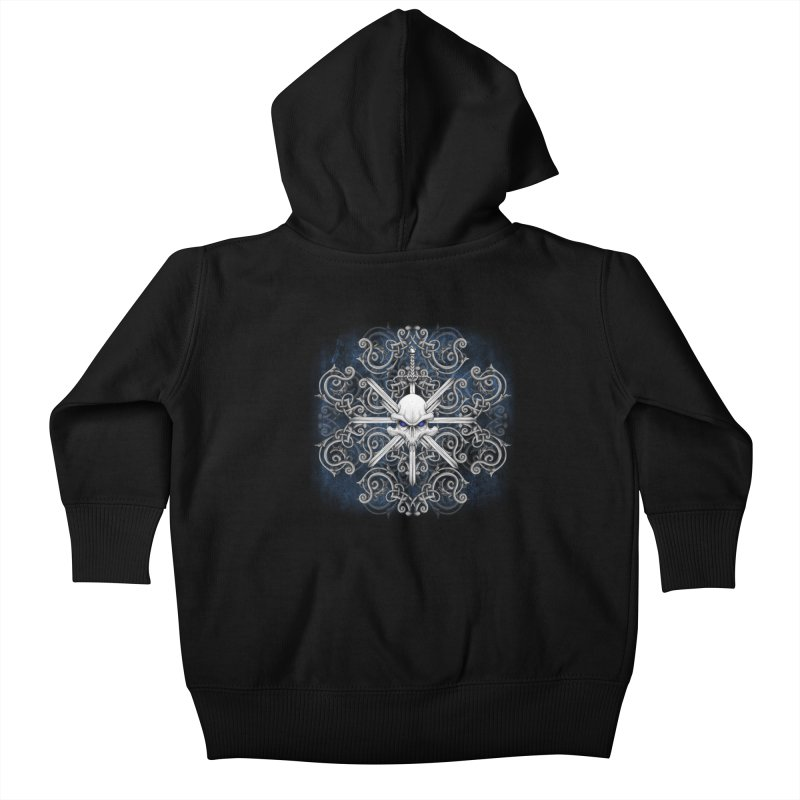 Tribal Skull Swords Kids Baby Zip-Up Hoody by Oblivion Design's Artist Shop