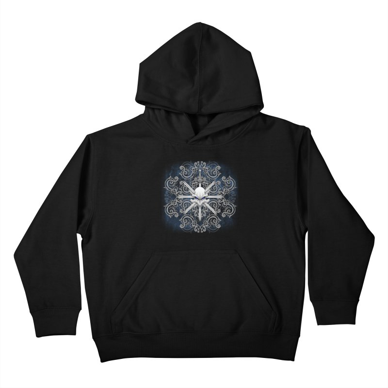 Tribal Skull Swords Kids Pullover Hoody by Oblivion Design's Artist Shop