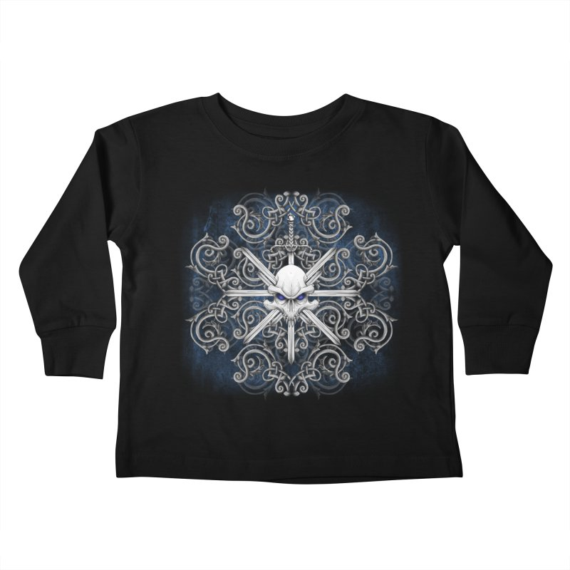 Tribal Skull Swords Kids Toddler Longsleeve T-Shirt by Oblivion Design's Artist Shop