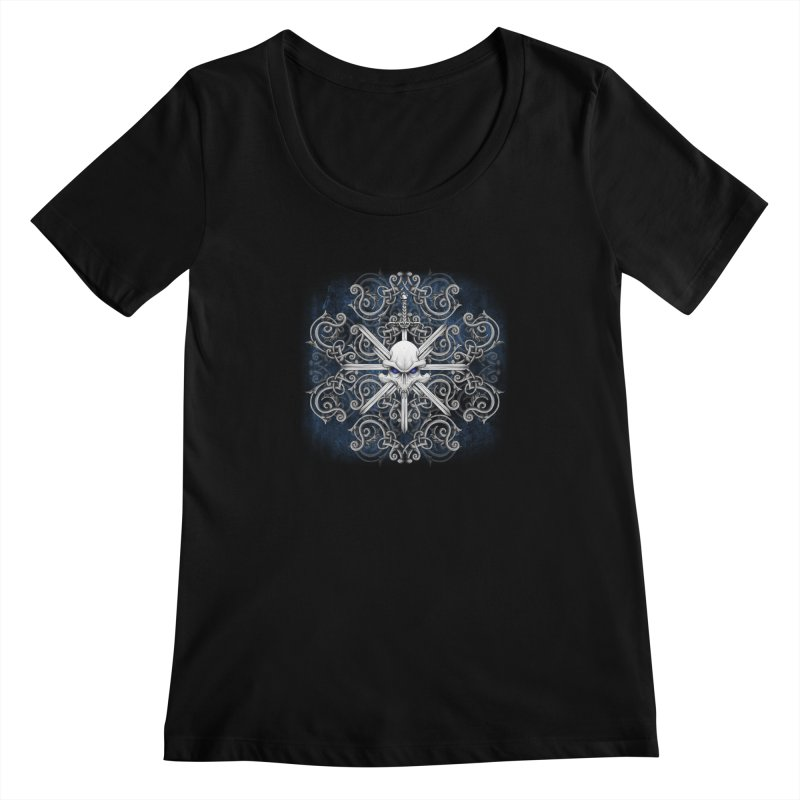 Tribal Skull Swords Women's Scoopneck by Oblivion Design's Artist Shop