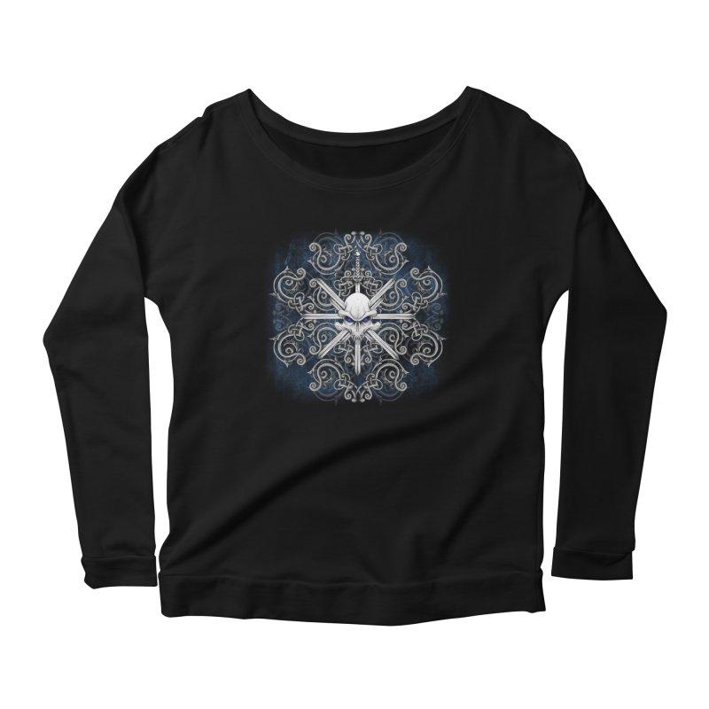 Tribal Skull Swords Women's Scoop Neck Longsleeve T-Shirt by Oblivion Design's Artist Shop