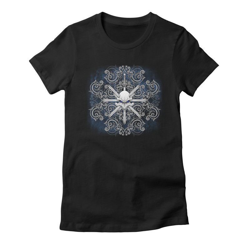 Tribal Skull Swords Women's Fitted T-Shirt by Oblivion Design's Artist Shop