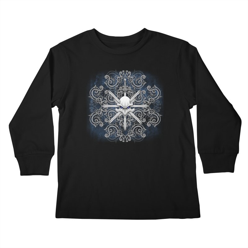 Tribal Skull Swords Kids Longsleeve T-Shirt by Oblivion Design's Artist Shop