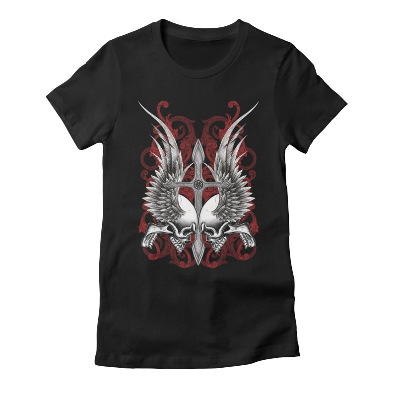 Screaming Skulls Women's Fitted T-Shirt by Oblivion Design's Artist Shop