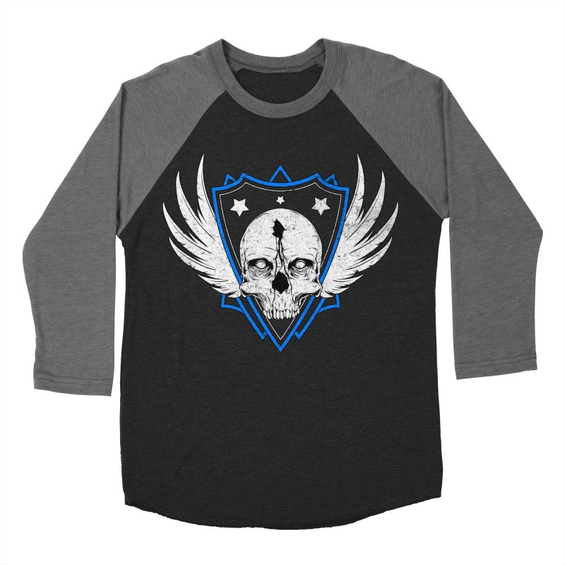 Shield Skull Men's Baseball Triblend Longsleeve T-Shirt by Oblivion Design's Artist Shop