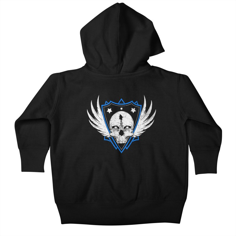 Shield Skull Kids Baby Zip-Up Hoody by Oblivion Design's Artist Shop