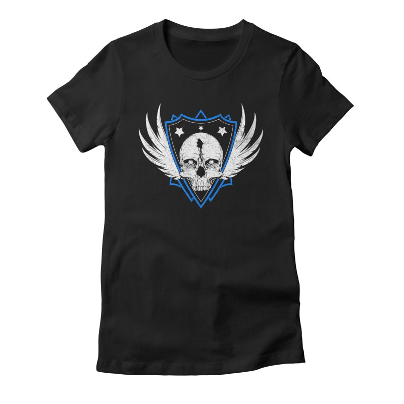 Shield Skull Women's Fitted T-Shirt by Oblivion Design's Artist Shop