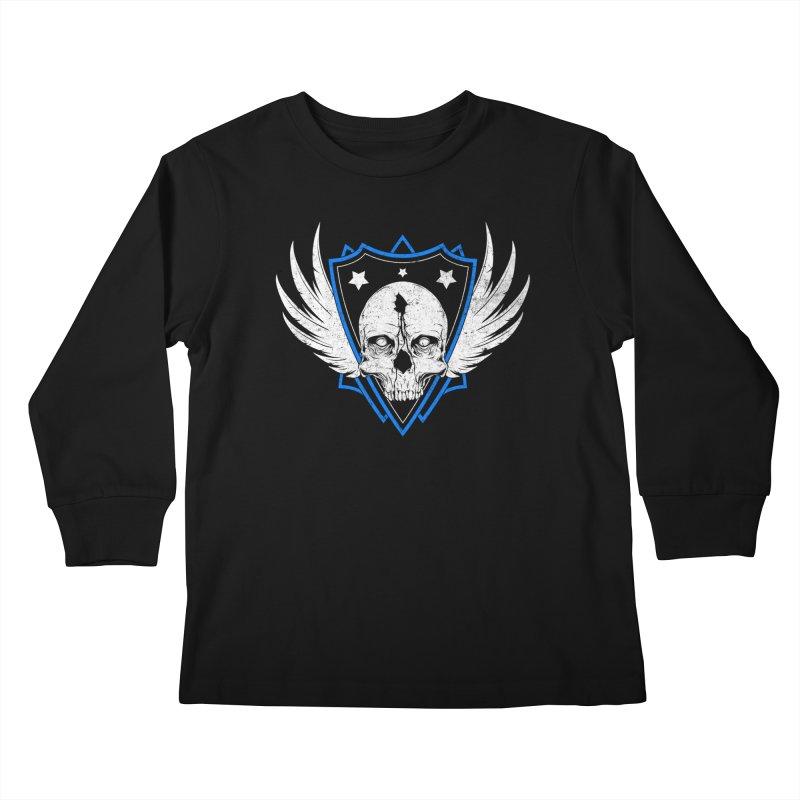 Shield Skull Kids Longsleeve T-Shirt by Oblivion Design's Artist Shop