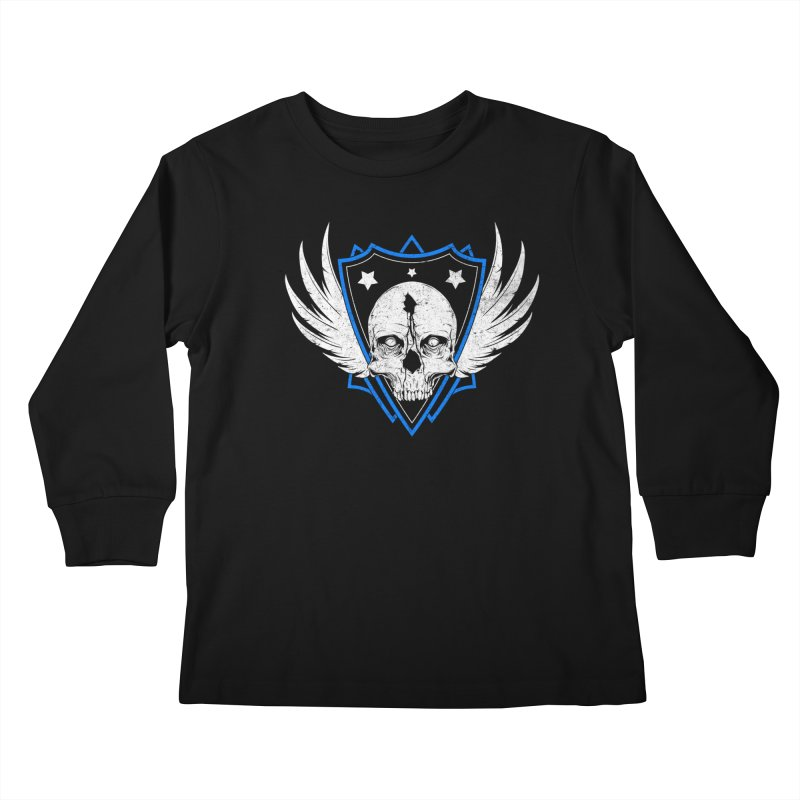 Shield Skull Kids Longsleeve T-Shirt by Oblivion Design's Artist Shop