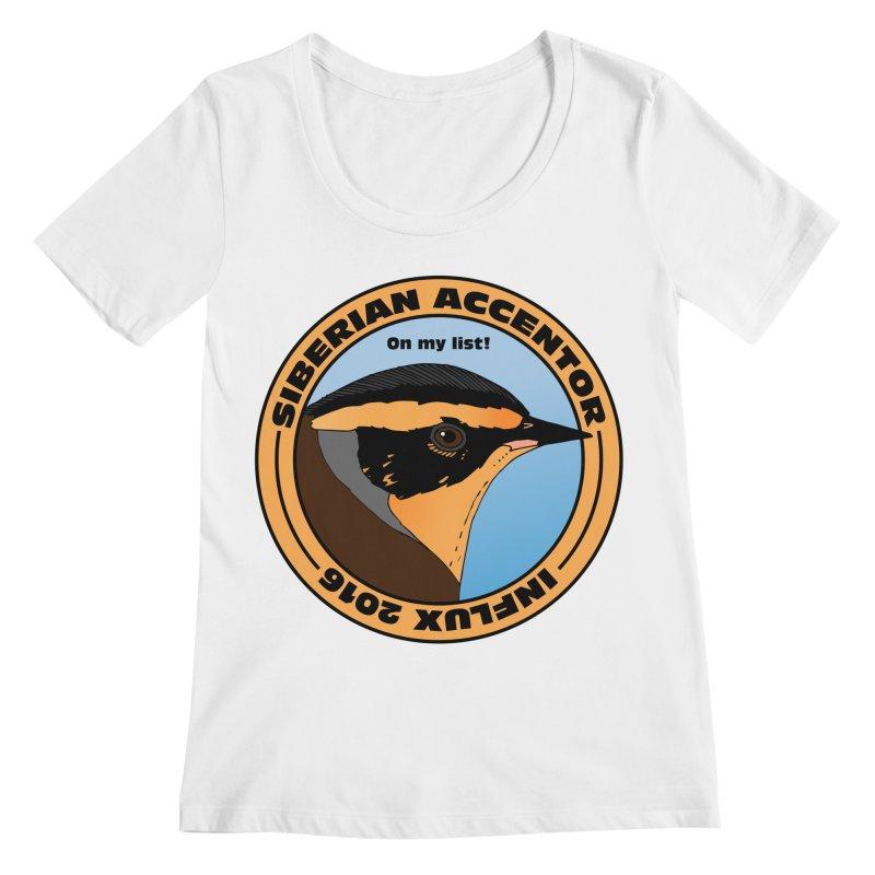 Siberian Accentor - On my list! Women's Scoopneck by Oceanrunner's Artist Shop