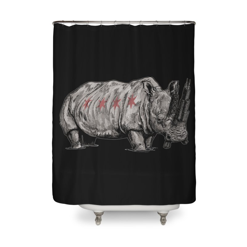 Chi-Noceros on Black Home Shower Curtain by Octophant's Artist Shop