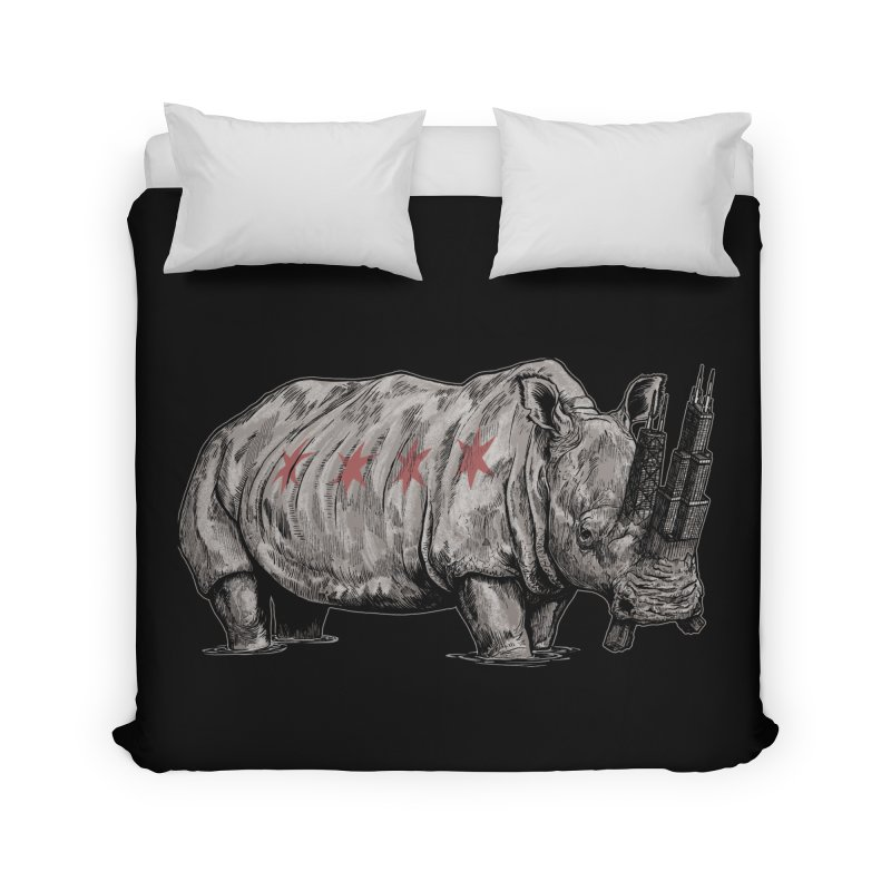 Chi-Noceros on Black Home Duvet by Octophant's Artist Shop