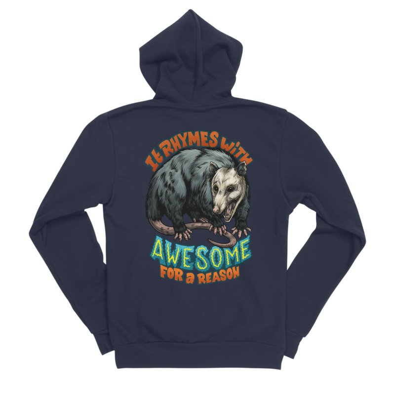 Awesome Possum (High Key) Women's Sponge Fleece Zip-Up Hoody by Octophant's Artist Shop
