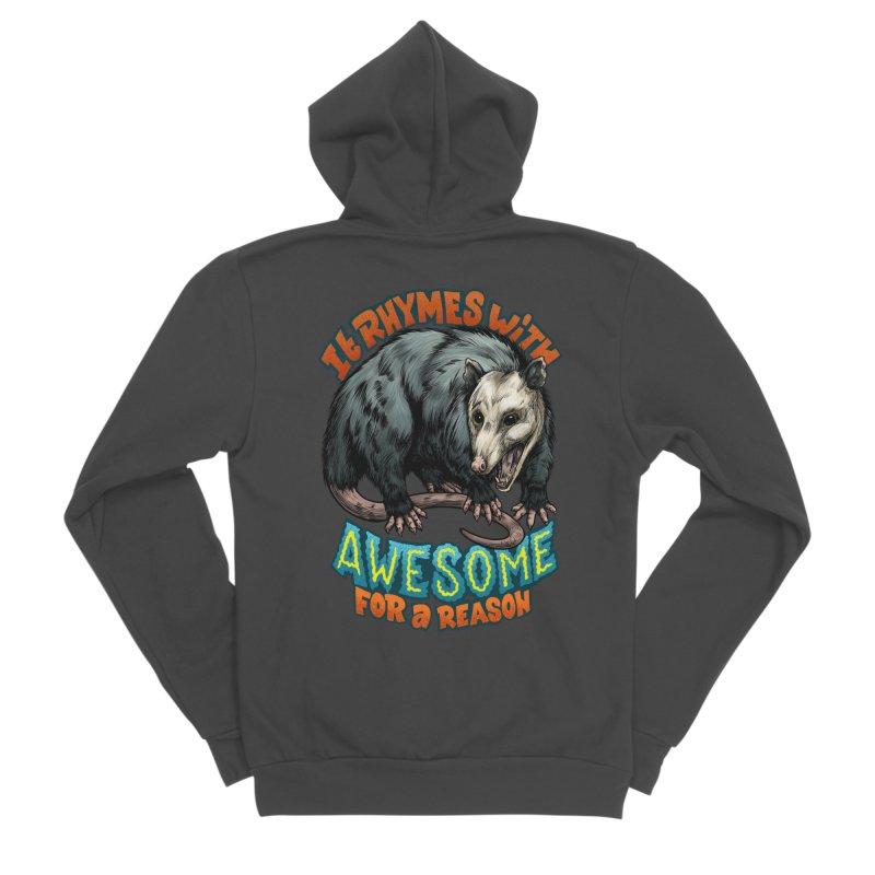 Awesome Possum (High Key) Men's Sponge Fleece Zip-Up Hoody by Octophant's Artist Shop