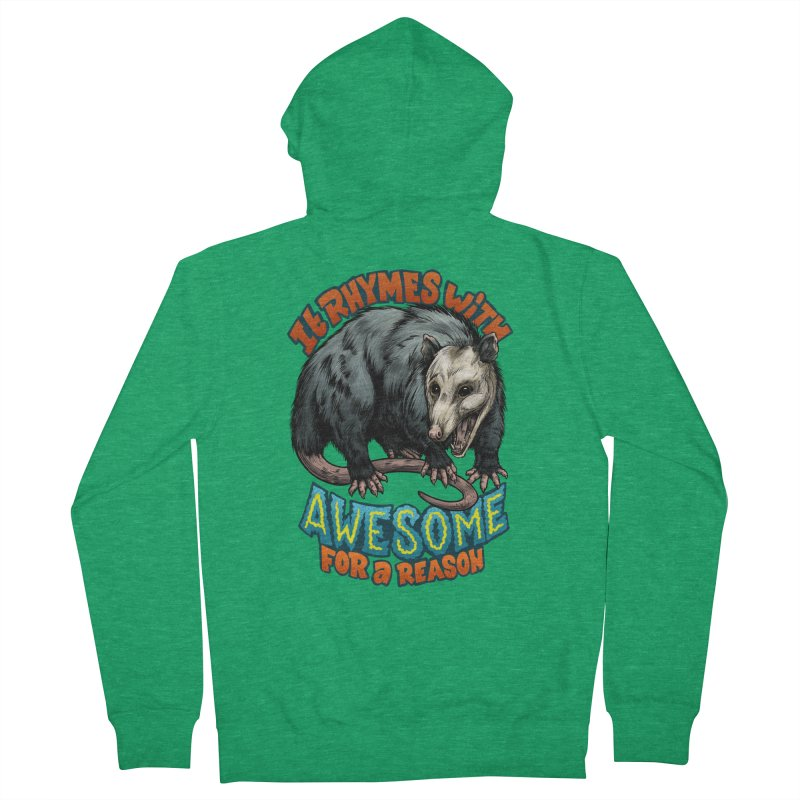Awesome Possum (High Key) Women's French Terry Zip-Up Hoody by Octophant's Artist Shop