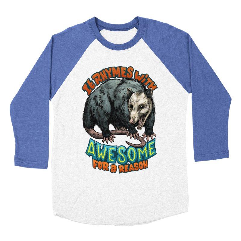 Awesome Possum (High Key) Men's Baseball Triblend Longsleeve T-Shirt by Octophant's Artist Shop