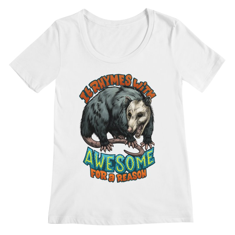 Awesome Possum (High Key) Women's Regular Scoop Neck by Octophant's Artist Shop