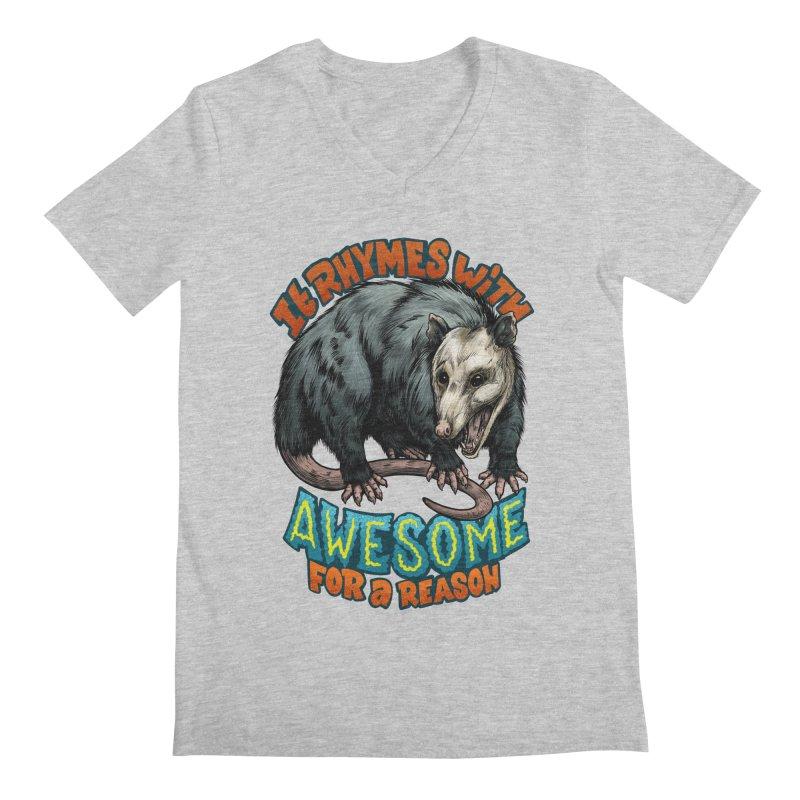 Awesome Possum (High Key) Men's Regular V-Neck by Octophant's Artist Shop