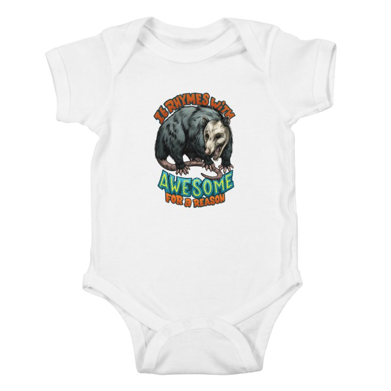 Awesome Possum (High Key) Kids Baby Bodysuit by Octophant's Artist Shop