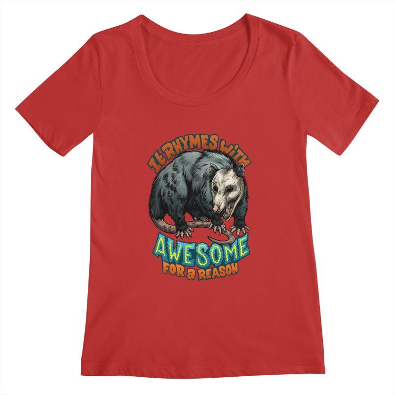 Awesome Possum (High Key) Women's Regular Scoop Neck by Octophant's Artist Shop