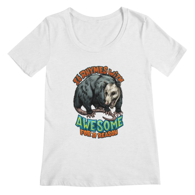 Awesome Possum (High Key) Women's Scoop Neck by Octophant's Artist Shop