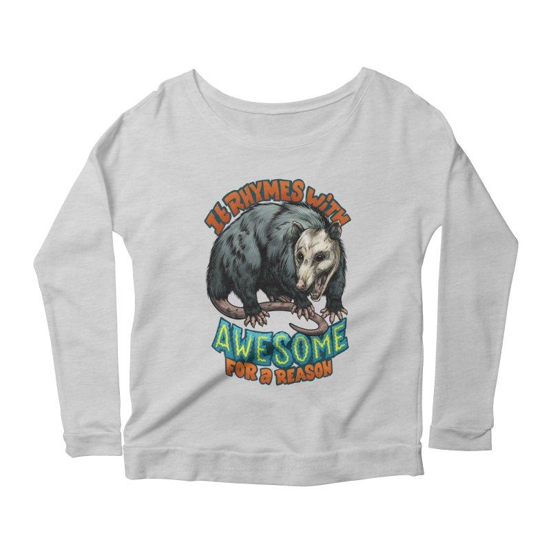 Awesome Possum (High Key) Women's Scoop Neck Longsleeve T-Shirt by Octophant's Artist Shop