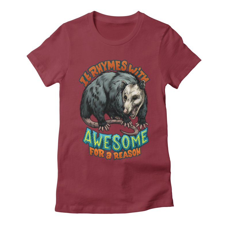 Awesome Possum (High Key) Women's Fitted T-Shirt by Octophant's Artist Shop