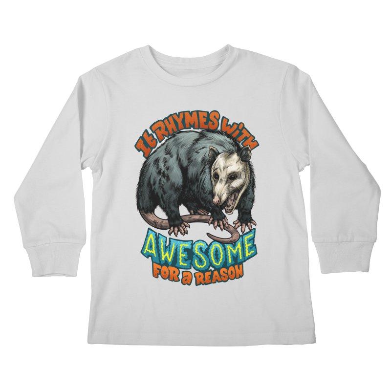 Awesome Possum (High Key) Kids Longsleeve T-Shirt by Octophant's Artist Shop