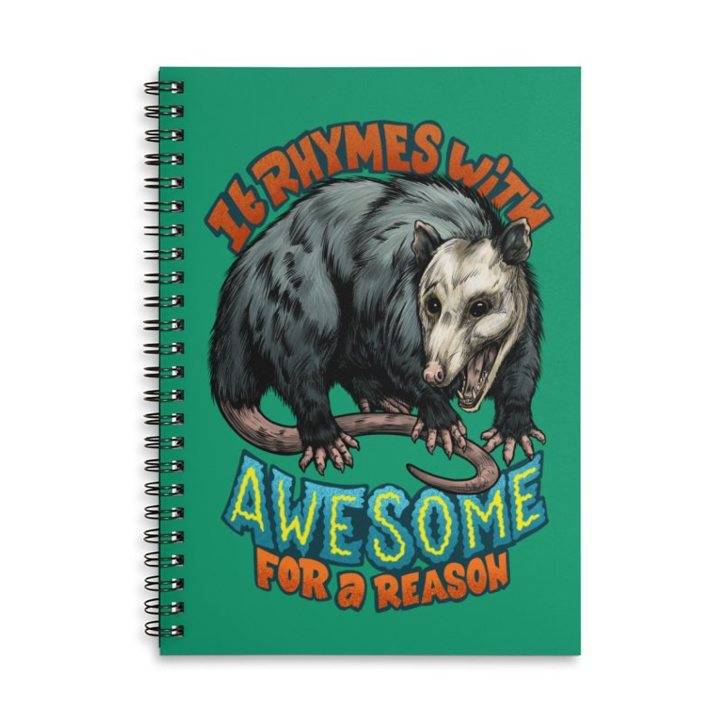 Awesome Possum (High Key) Accessories Lined Spiral Notebook by Octophant's Artist Shop