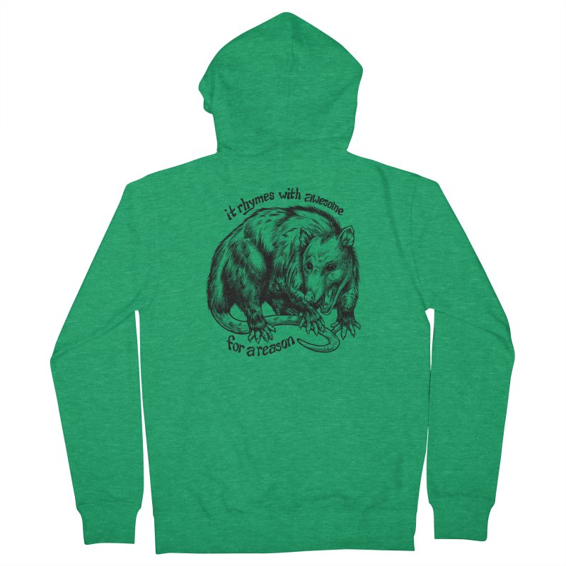 Awesome Possum (Low Key) Women's French Terry Zip-Up Hoody by Octophant's Artist Shop