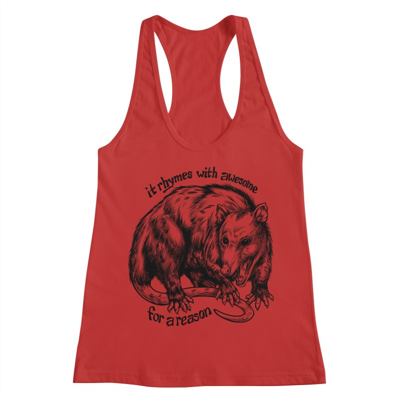 Awesome Possum (Low Key) Women's Racerback Tank by Octophant's Artist Shop