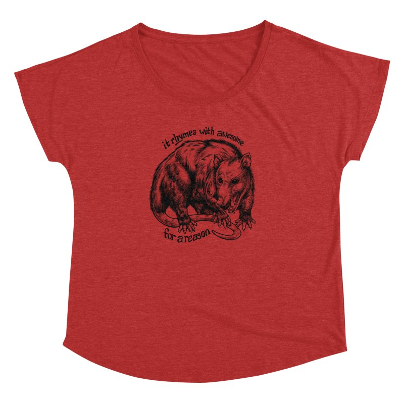 Awesome Possum (Low Key) Women's Dolman Scoop Neck by Octophant's Artist Shop