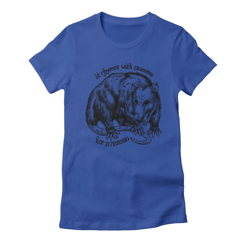 Awesome Possum (Low Key) Women's Fitted T-Shirt by Octophant's Artist Shop